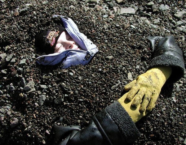 buried in gravel