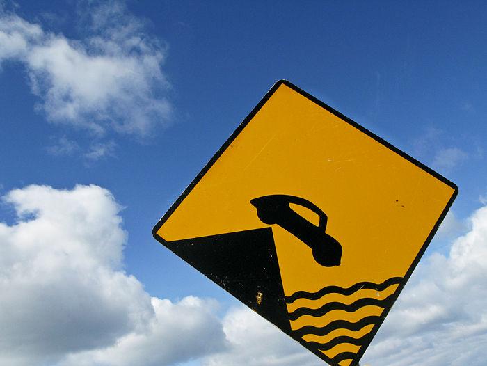 sign, car falling, warning