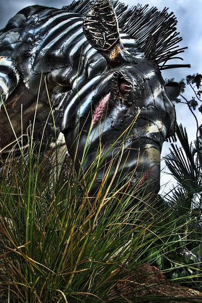 Metal zebra sculpture