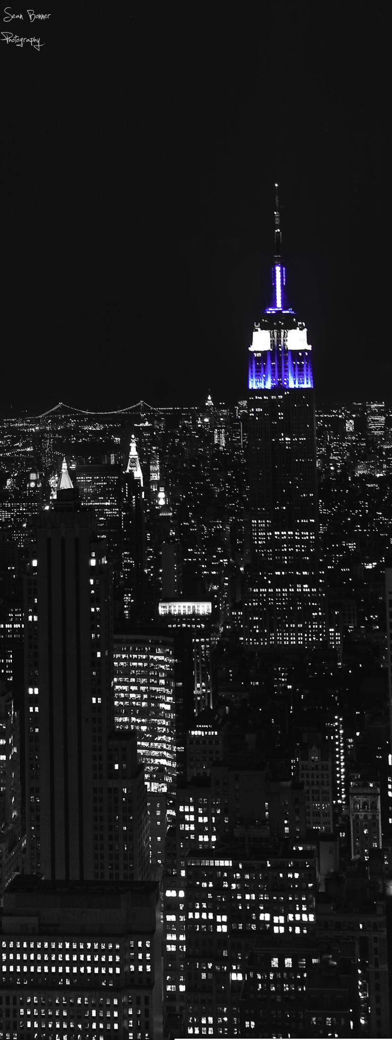 New York City by night including the empire state