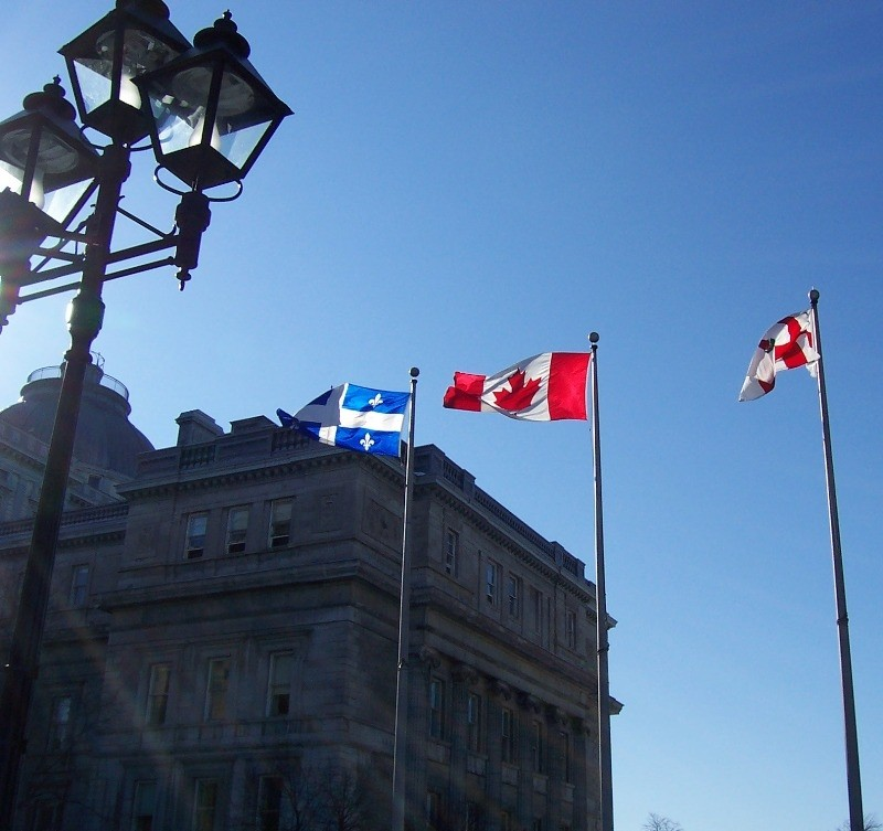 Flag of Quebec, Canada, and Montreal