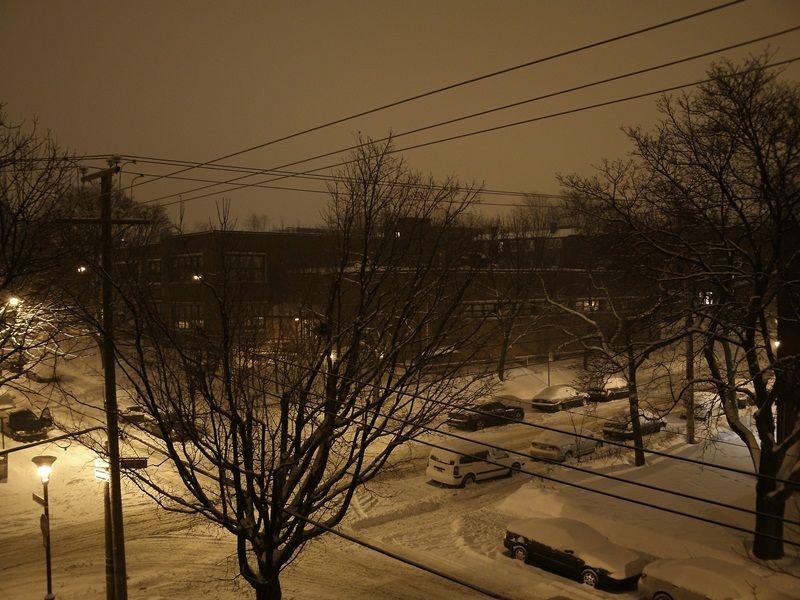 Snowfall street montreal