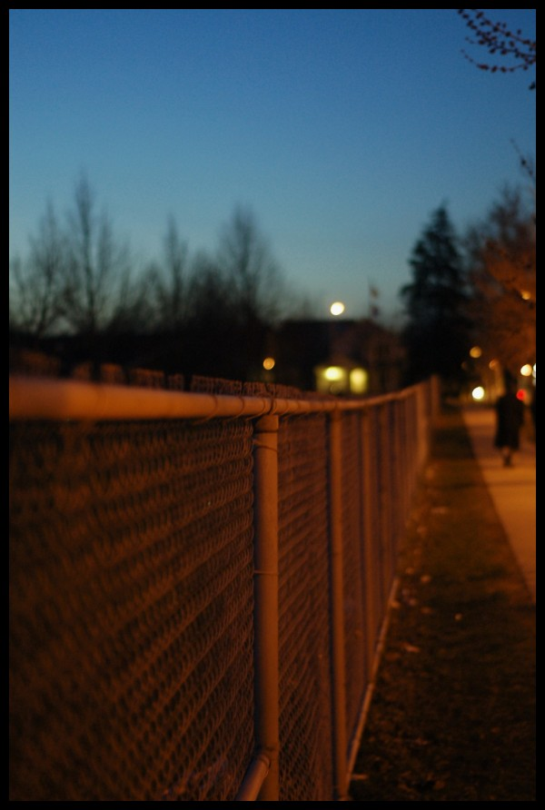 Fence of a park at night