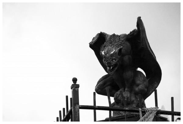 Gargoyle waching halloween