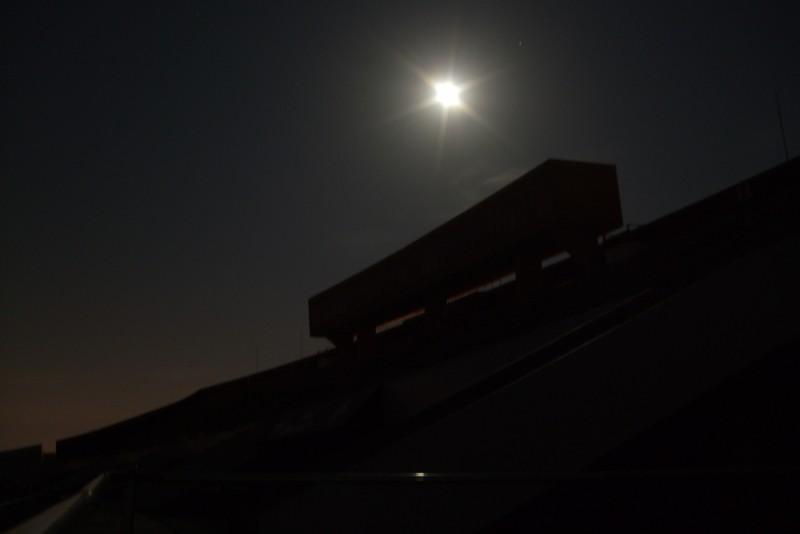 Umass Football stadium at night
