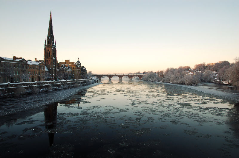 Winter on Tay Street, Perth, Scotland