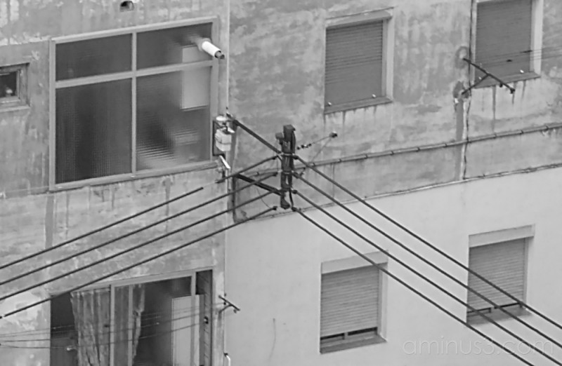 Diagonal wires in black and white