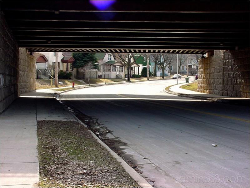 A peek at the underside of a city bridge