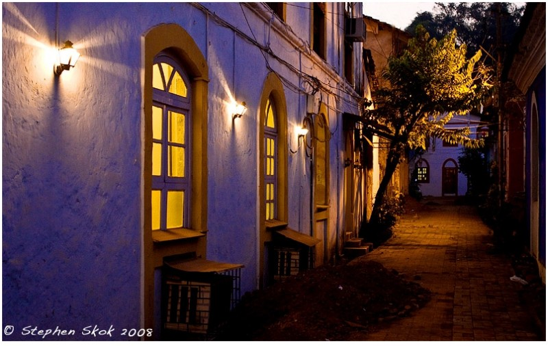 Lane in Panjim, Capital of Goa, India.