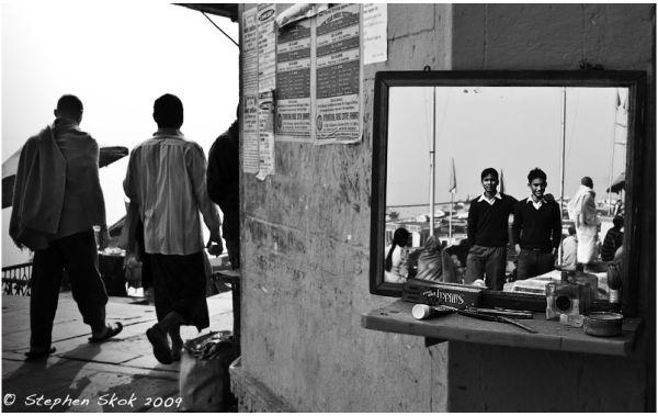 Varanasi India barbershop street