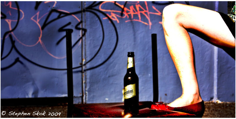 beer legs chair autumn sun