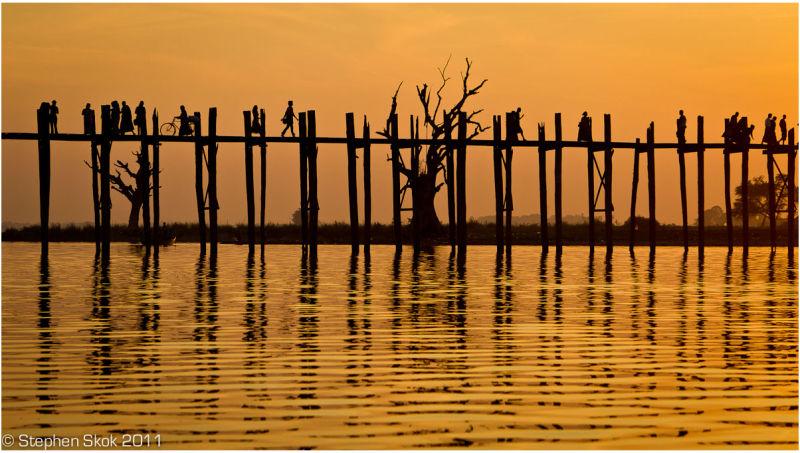 Burma Myanmar Mandalay Amarapura U Bein sunset