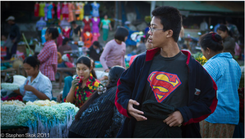 Burma Myanmar Mandalay  street flowers superman