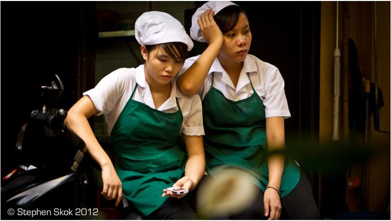 Vietnam, Saigon, restaurant, workers, street