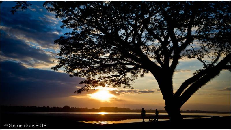 Laos, Vientiane, Mekong, sunset