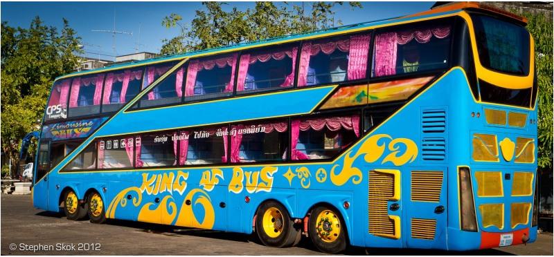 Laos, Pakse, bus, sleeping