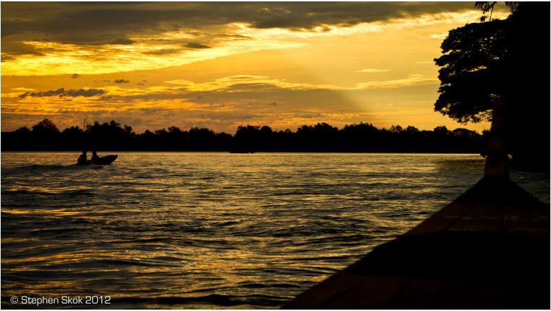 Laos,Si Phan Don,Don Det, Mekong, river, sunset