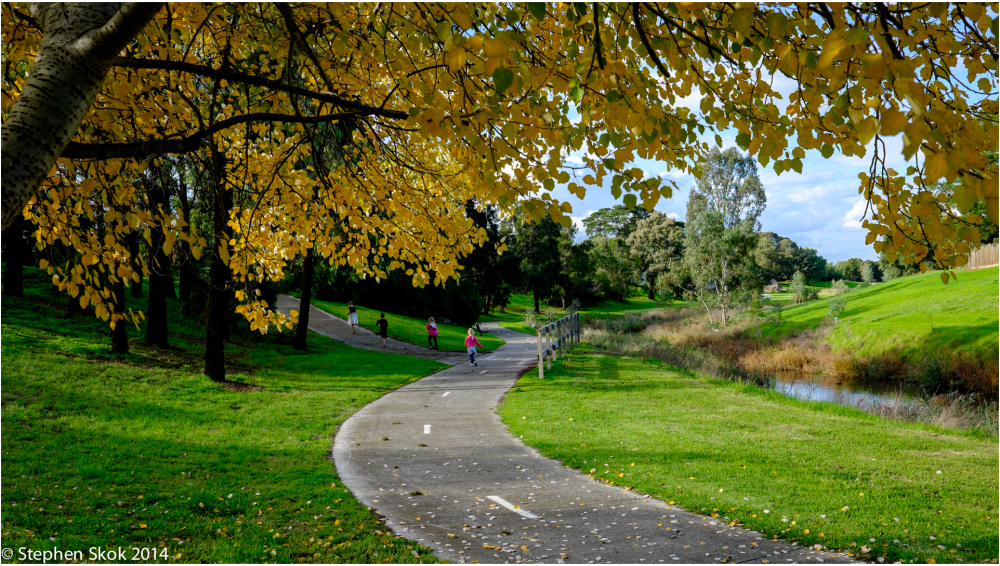 Australia, Melbourne,, river, bike path