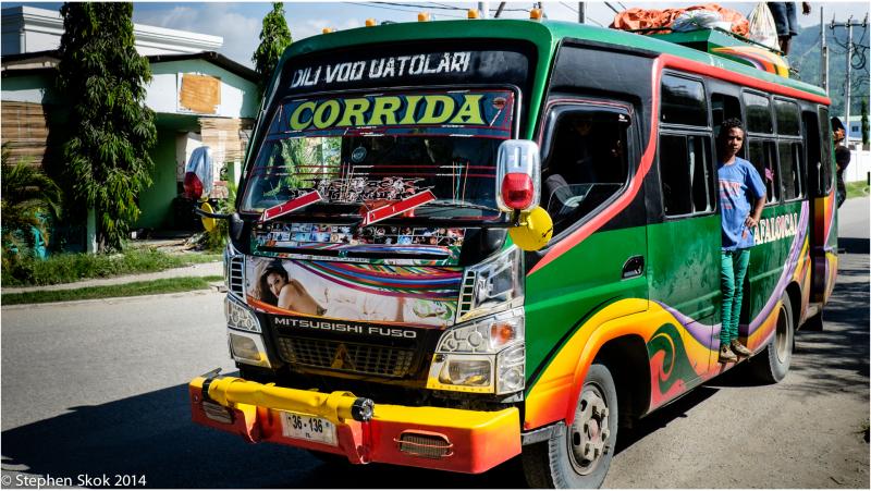 Duili, Timor Leste, bus, street, beach