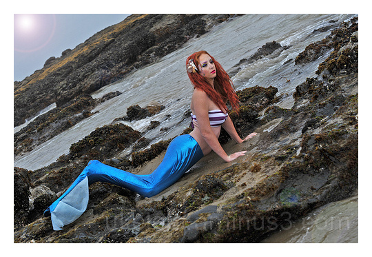 Mermaid, Redhead, Ariel, Beach, Tide, Rocks