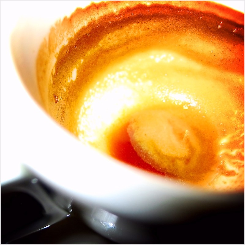 Closeup of an empty cup of espresso