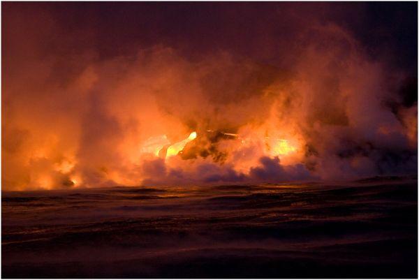 Lava erupting into the Ocean