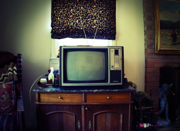 Old Television with retro color tones
