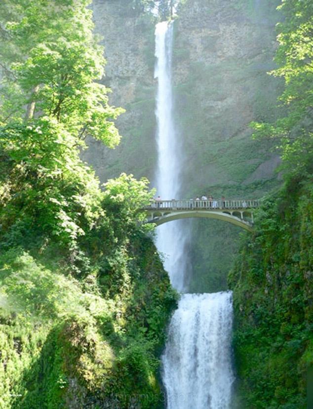 Multnomah Falls in full with bridge