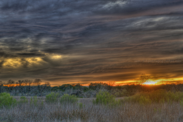 sunset at Cibolo Nature Center
