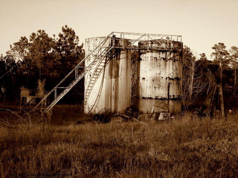 Humble Oil storage tanks