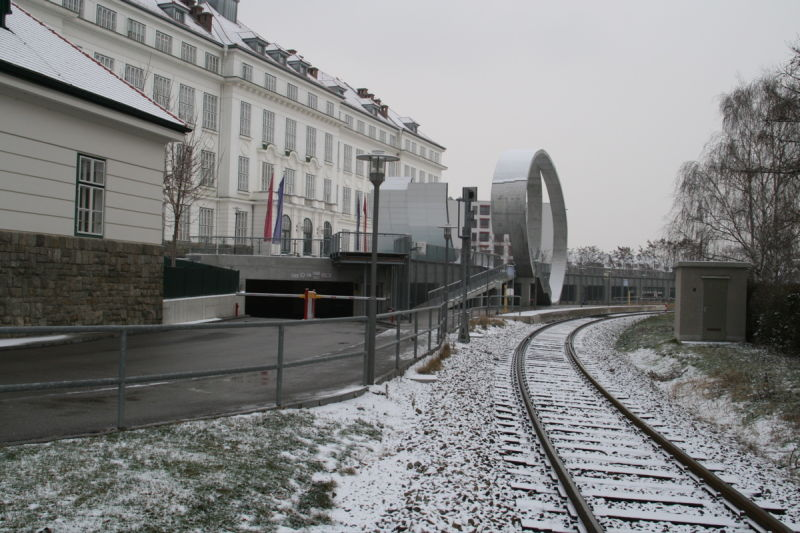Campus Krems in Winter seen from railway crossing