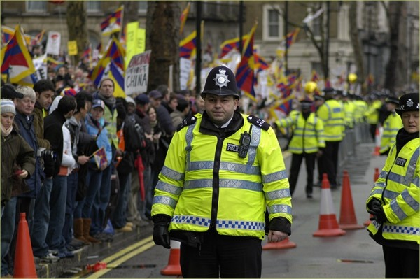 A police officer in a demonstration for Tibet