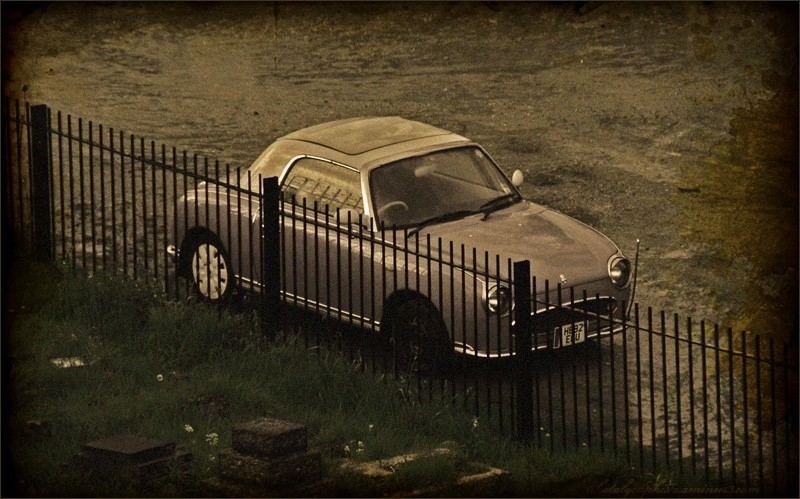A car in sepia