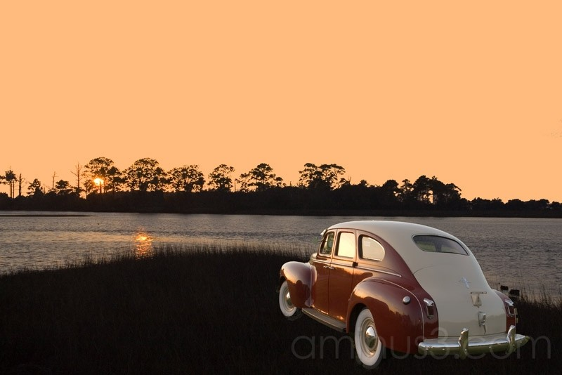 antique car chrysler florida sunset