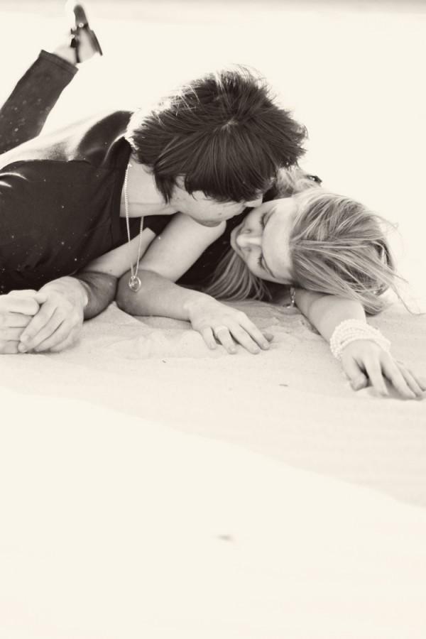 kiss on the beach.
