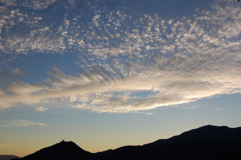 muntanya, posta sol