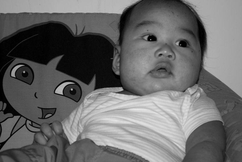 Jesse chillin' with Dora the explorer