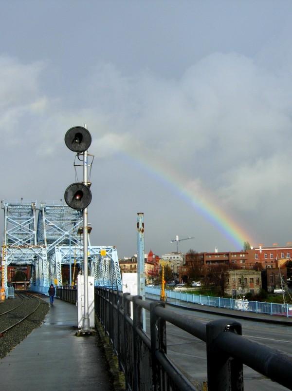 Rainbow over Johnson Street Bridge in Victoria