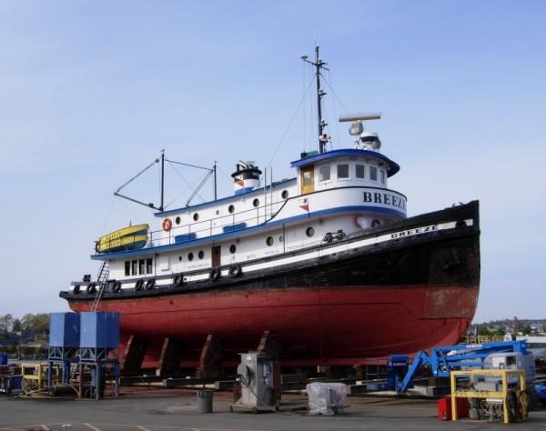 tugboat in drydock
