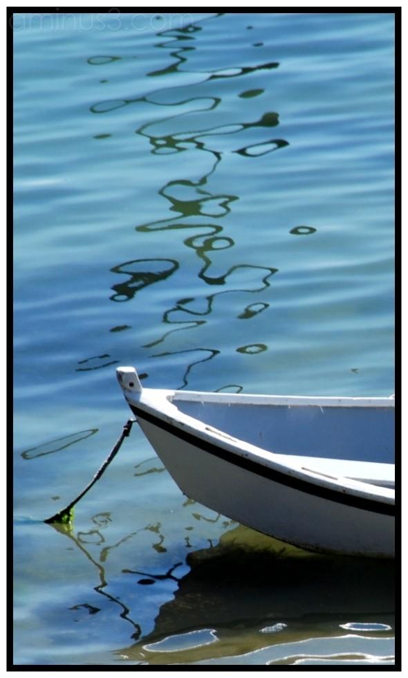 boat, rope, reflection, sea