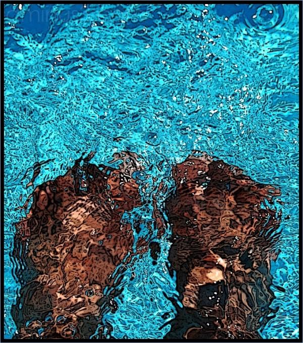 feet, blue