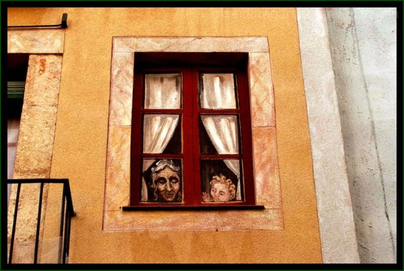 painted window in Tarragona , Spain