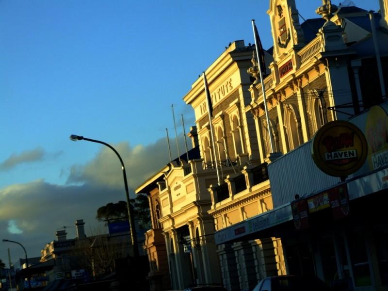 sun setting in Gawler's main street