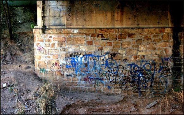 Graffitied bridge