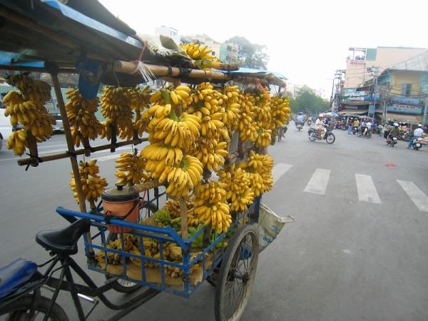 Selling bananas near Cho Lon at Ho Chi Minh city
