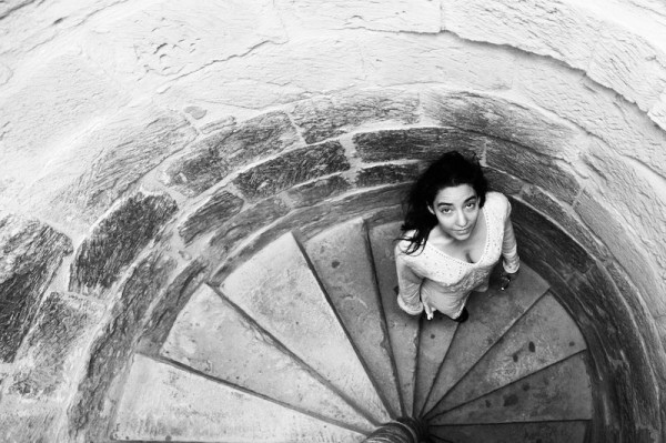 sharna fabiano in castle stair well, cyprus