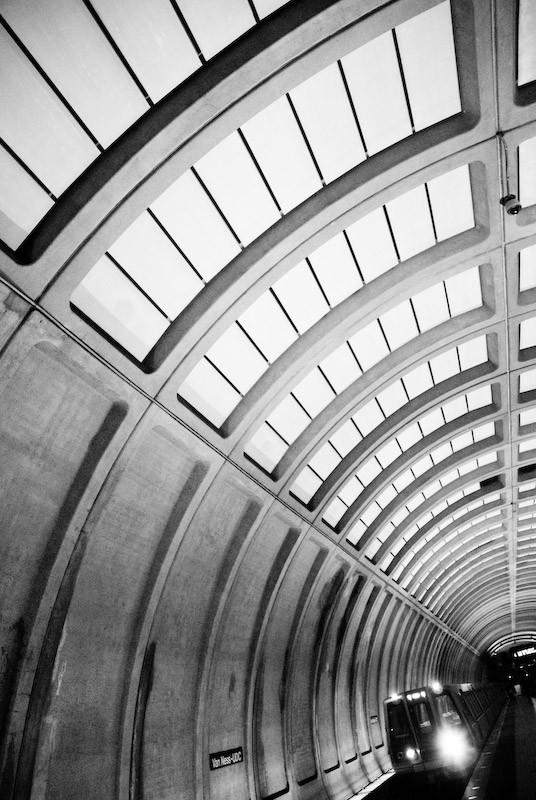 metro station black and white