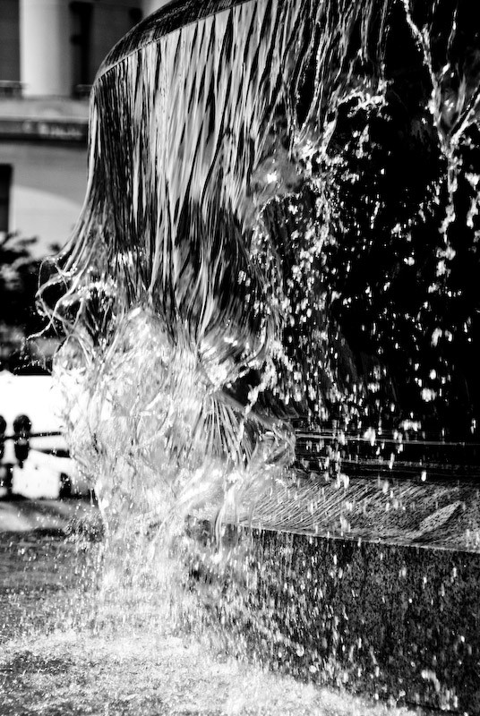 fountain in black and white