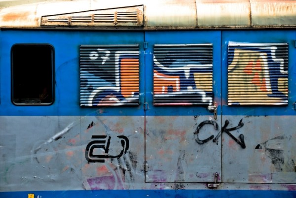 graffiti on side of train