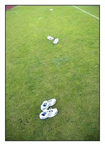 Athletic shoes in the grass